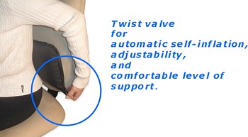 Easy to use patented twist valve and ergonomic design. Fully adjustable for the correct level of lower back support and lower back pain relief when sitting.